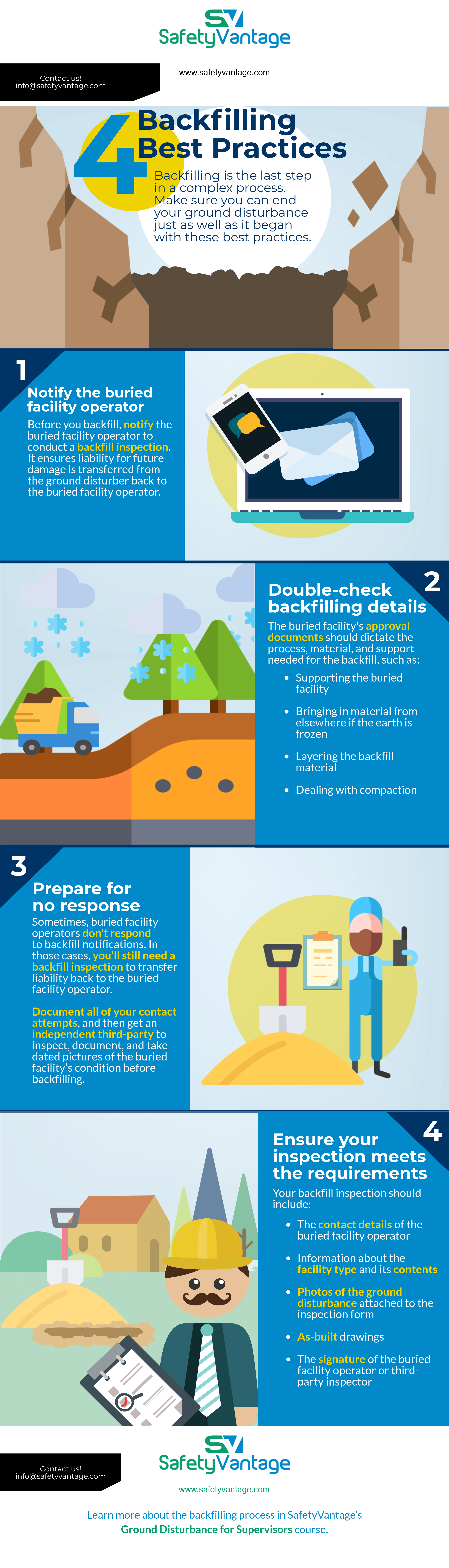 InfoGraphic - Backfilling is the last step in the ground disturbance process. Make sure you finish it right with these four best practices.